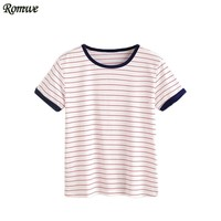 ROMWE T shirts Women 2017 Summer Casual Woman T shirt Top Ladies Short Sleeve Round Neck Striped Ringer Tee Shirt