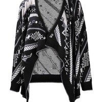 ZLYC Women Cross Twill Geometric Print Waterfall Open Front Blanket Wrap Cardigan Black
