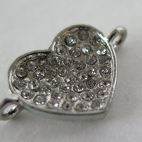 1PC - Heart Connector - Silver Toned with Rhinestones - 18x12mm