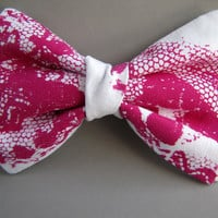 Lace Print Bow Tie in Fuchsia, Silkscreen on Cotton