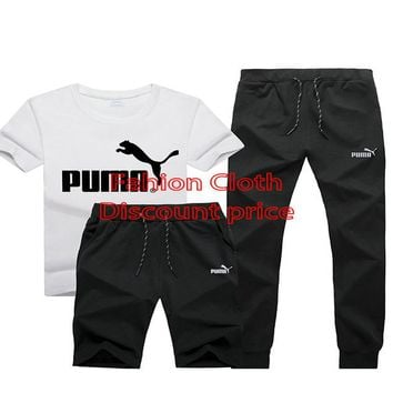 Puma New Style Clothing TREFOIL T-SHIRT Three-Piece Suit White Black