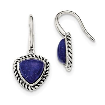 925 Sterling Silver Polished//Antiqued Lapis Cabochon Post Earrings 16mm x 18mm
