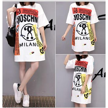 """Moschino"" Fashion Personality Multicolor Letter Print Loose Short Sleeve Women Casual T-Shirt Skirt"