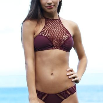 ACACIA Swimwear Panama Top in Merlot- Small- Final Sale