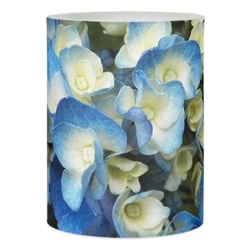 Blue Blossoms Floral Photo Flameless Candle