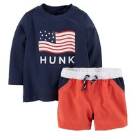 Carter's 2-pc. Patriotic ''Hunk'' Rashguard & Swim Trunks Set - Baby Boy, Size: