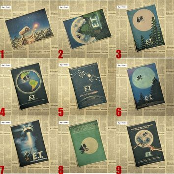 E T the Extra-Terrestrial Science fiction cartoon Home Furnishing decoration Kraft Movie retro Poster Drawing core Wall stickers