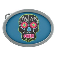 Customizable Black Sugar Skull Oval Belt Buckles