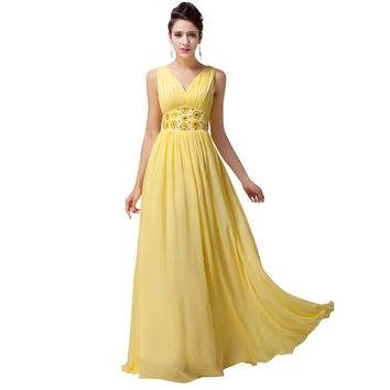 Custom Made Plus Size Yellow Evening Dresses Long V Neck Prom Gowns Formal Dress Dinner Party