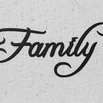 "Family Word Sign Large 30"" By 12"" Home Decor Metal Wall Art"
