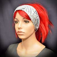 Black and white newspaper headband - head scarf - hair scarf
