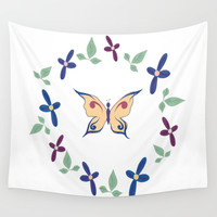 Floral Butterfly Wall Tapestry by sm0w