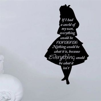 Cheshire Cat Mouth Pattern With Quotes Wall Decals Alice In Wonderland Series Art Wall Stickers Mural Home Kids Room Decor M317