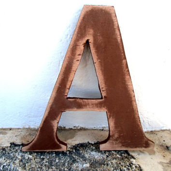 wall decoration signage letter A hanging decor rustic 8 inc Distressed wooden letter wall hanging nursery wood names cottage chic