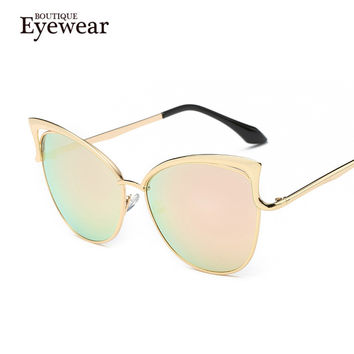 BOUTIQUE Newest Metal Frame Sexy Cat Eye Sunglasses for Women Coating Brand vintage sun glasses female oculos de
