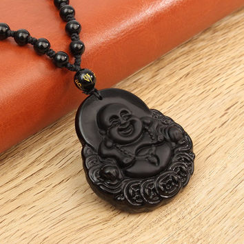 """Natural Obsidian Hand Carved Coin """"Smiling"""" Buddha Pendant with Beaded Necklace"""