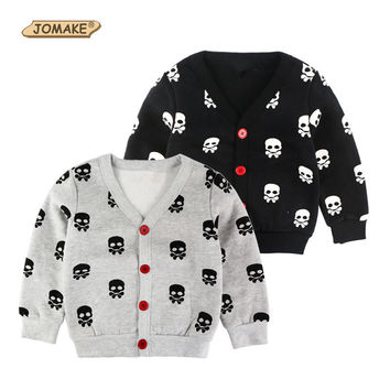 2017 New Autumn/Winter Kids Clothes Boys Jackets Fashion Brand Children's Clothing Baby Boy Skulls Printed Fleece Cardigan Coats