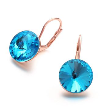 Rose Gold Blue Zircon Round Shaped Earrings