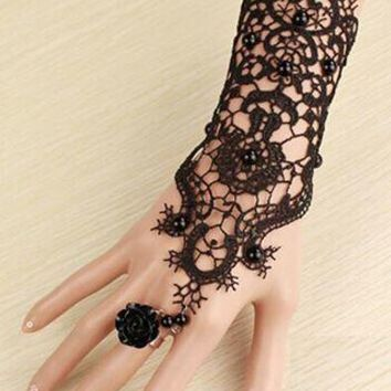 Gothic Victorian Lace Slave Bracelet with Ring Black