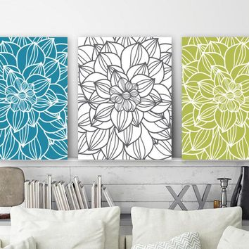 FLOWER Outline Wall Art, Large Floral CANVAS or Prints, Teal Green Floral Bedroom Decor, Flower Bathroom Wall Decor, Set of 3 Wall Hanging