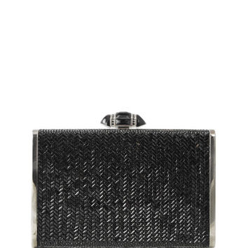 Judith Leiber Couture Herringbone Tall Rectangle Clutch Bag, Jet