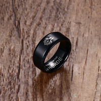 SIZZZ World of Warcraft Horde Alliance Black Gold Ring Titanium Steel Ring Jewelry Gift