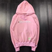 Champion Autumn Winter Fashion Women Men Loose Hoodie Letter Embroidered Pullover Couple Sweater Top Pink