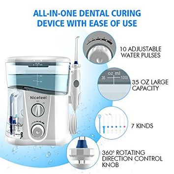 Nicefeel Water Flosser - Water Flossing Dental Oral Irrigator with 10 Pressures, Supports 150 Seconds Cleaning, Dental Flosser with 7 Tips for Multiple Use FDA Approved