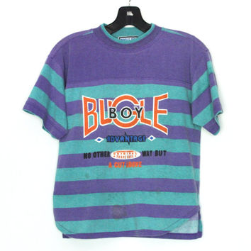 1980s Retro Bugle Boy Brand Crop Top T-Shirt | Striped Cropped Tee, Turquoise & Purple
