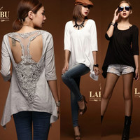 Fashion New 3/4 Sleeve Patchwork T-shaped Lace Women T-shirt Top Tee Asymmetric