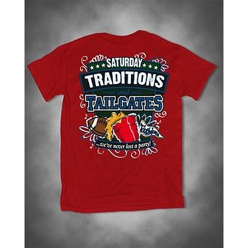Sweet Thing Saturday Traditions Never Lost a Party Red Football Girlie Bright T-Shirt