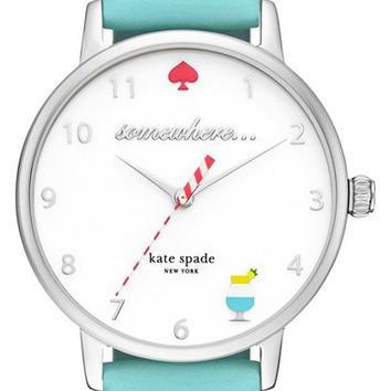 kate spade new york 'metro - somewhere' leather strap watch, 35mm | Nordstrom
