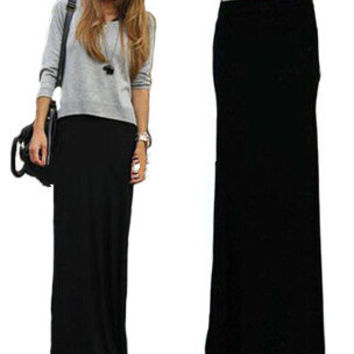 Plus Size Spring Summer Style Black Fold Over Waist Minimalist Jersey Knit Long Maxi Womens Pleated Skirts