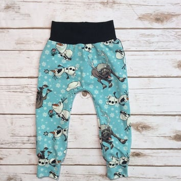 Olaf pants, frozen pants, slim harem, disney pants, baby leggings, disney harems, baby harems, frozen leggings