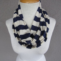Striped Infinity Scarf - Navy and Cream Striped Scarf - Blue and White Circle Scarf