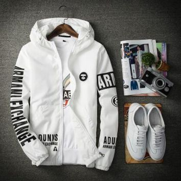 High Quality Mens Air Bomber Jacket Spring And Autumn Causal Printed Thin Men Jacket With Hooded