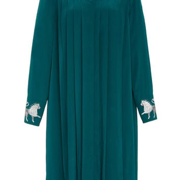 Collared Pleated Silk Dress | Moda Operandi