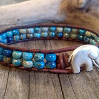 Good Luck Elephant, Aqua Terra, Leather Beaded Wrap Bracelet, Mothers Day, Chan Luu, Southwest chic