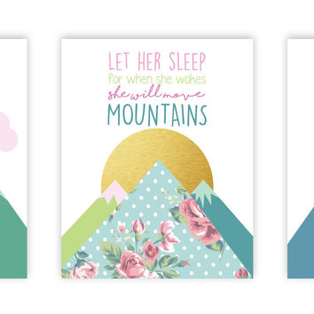 Canvas or Print, Collection Let Her Sleep For When She Wakes She Will Move Mountains, Set Of 3