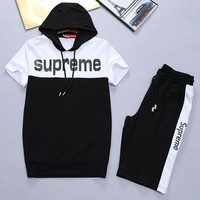 Boys & Men Supreme Fashion Casual Shirt Top Tee Shorts Set Two-Piece