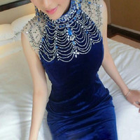 Heavy summer beading sleeveless halter dress evening dresses long section fishtail dress