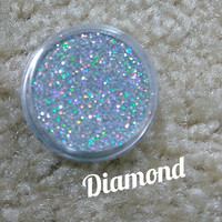 """Pressed Glitter Eyeshadow in """"Diamond"""" Holographic Silver, Magnetic 26mm pan or 3g jar, cosmetic grade glitter"""