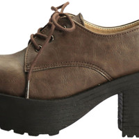 Paperplanes-1703 Casual Women Low Lace Up Thick Heel Boots Brown