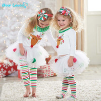 Clothing sets  2016 New Retail Cute Deer Babys Christmas Clothes Long-Sleeve Girls Clothing Sets Kids Good Quality Suits outfit