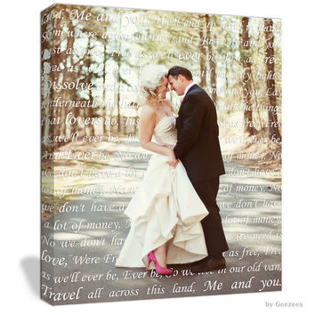 Holiday Gift Ideas for Couple First Dance Lyrics/ Custom Canvas / Your Wedding Photo with your Lyrics/ Photo Gift ideas/ Personalized Couple