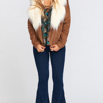 Amelia Jacket ~ Clove Faux Suede with Sherpa