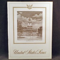 Vintage S.S. United States Lines Menu with Independence Hall - 1965