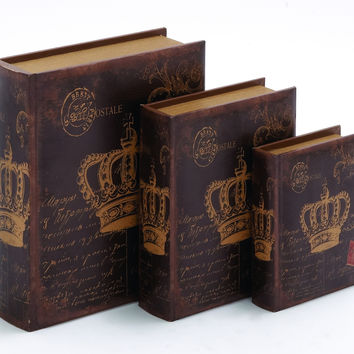 Wooden Book Box With Rich Design And Natural Texture (Set Of 3)