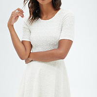 FOREVER 21 Popcorn Knit Sequins Dress Cream