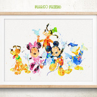 Mickey and Friends - Watercolor, Art Print, Home Wall decor, Kids Gift, Disney Wall Art, Disney Poster